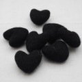 100% Wool Felt Hearts - 5 Count - Black