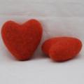 100% Wool Felt Heart - 6cm - Deep Carrot Orange