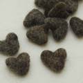 100% Wool Felt Hearts - 5 Count - Brown Mix