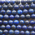"High Quality Grade A Natural Lapis Lazuli (blue) Faceted Semi-Precious Gemstone Round Beads 6mm, 8mm, 10mm sizes - 15"" long"