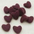 100% Wool Felt Hearts - 5 Count - Aubergine Purple