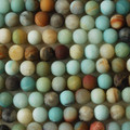 Semi-Precious Gemstone Multi - Colour Frosted Amazonite Round Beads 4mm, 6mm, 8mm, 10mm