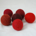 100% Wool Felt Balls - 6 Count - 4cm - Red Colours