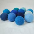 100% Wool Felt Balls - 12 Count - 4cm - Blue Colours