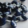 6 High Quality Grade A Natural Lapis Lazuli Semi-precious Gemstone Faceted Teardrop Beads / Pendants - 14mm