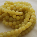 High Quality Grade A Natural Lemon Jade Frosted / Matte Gemstone Round Beads 4, 6, 8, 10mm sizes