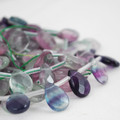 10 High Quality Natural Rainbow Fluorite Semi-precious Gemstone Faceted Teardrop Beads / Pendant 12mm 14mm 18mm
