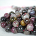 High Quality Grade AB Natural Multi-colour Tourmaline Gemstone Round Beads 4, 6, 8, 10mm sizes