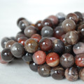 High Quality Grade AB Natural Petrified Wood Agate Gemstone Round Beads 4, 6, 8, 10mm sizes