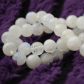 "High Quality Grade AAA Natural Rainbow Moonstone Semi-Precious Gemstone Round Beads - 8mm - 15"" long"