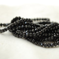 "High Quality Grade A Natural Black Spinel Semi-Precious Gemstone Tiny Faceted Rondelle / Spacer Beads - 2mm x 3mm - 15.5"" long"