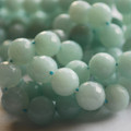 "High Quality Grade A Natural Amazonite Faceted Semi-Precious Gemstone Round Beads 6, 8, 10mm sizes - 15"" long"