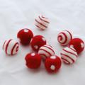 100% Wool Felt Balls - Polka Dots & Swirl Felt Balls - 2.5cm - 10 Count - Red