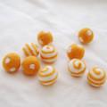 100% Wool Felt Balls - Polka Dots & Swirl Felt Balls - 2.5cm - 10 Count - Orange