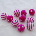 100% Wool Felt Balls - Polka Dots & Swirl Felt Balls - 2.5cm - 10 Count - Garden Rose Pink