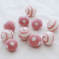 100% Wool Felt Balls - Polka Dots & Swirl Felt Balls - 2.5cm - 10 Count - Dusty Rose Pink