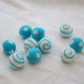 100% Wool Felt Balls - Polka Dots & Swirl Felt Balls - 2.5cm - 10 Count - Turquoise Blue