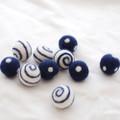 100% Wool Felt Balls - Polka Dots & Swirl Felt Balls - 2.5cm - 10 Count - Navy