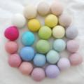 100% Wool Felt Balls - 25 Count - 4cm - Assorted Light, Pale & Pastel colours