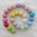 100% Wool Felt Balls -25 Count - 2cm - Assorted Light, Pale & Pastel