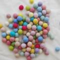 100% Wool Felt Balls - 100 Count - 3cm - Assorted Light, Pale & Pastel Colours