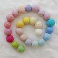 100% Wool Felt Balls - 25 Count - 3cm - Assorted Light, Pale & Pastel Colours