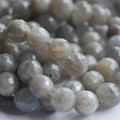 "High Quality Grade A Natural Labradorite Faceted Semi-Precious Gemstone Round Beads 6mm, 8mm, 10mm sizes - 15"" long"