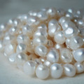 "16"" Strand Natural Freshwater Pearl Beads Nuggets White 7 - 9mm Grade AA"
