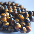 "High Quality Grade A Natural Tiger's Eye Faceted Semi-Precious Gemstone Round Beads 6,  8, 10mm sizes - 15"" long size"