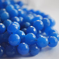 "Blue Quartz Faceted Round Beads 6, 8, 10mm sizes - 15"" long"