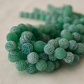 High Quality Crackle Green Agate Frosted / Matte Semi-precious Gemstone Round Beads 4, 6, 8, 10mm sizes