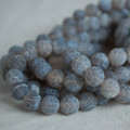 High Quality Crackle Grey Agate Frosted / Matte Semi-precious Gemstone Round Beads 4, 6, 8, 10mm sizes