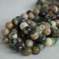 High Quality Grade A Natural Yellow Matrix Turquoise Semi-precious Gemstone Round Beads - 4mm, 6mm, 8mm, 10mm sizes