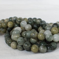 High Quality Grade A Natural Green Line Quartz Semi-precious Gemstone Round Beads - 4mm, 6mm, 8mm, 10mm sizes