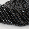 High Quality Grade A Natural Black Spinel Semi-Precious Gemstone Faceted Rondelle / Spacer Beads - 3mm, 4mm sizes