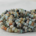 High Quality Grade A Natural Multi-colour Amazonite Semi-Precious Gemstone Frosted / Matte Rondelle / Spacer Beads - 4mm, 6mm, 8mm sizes