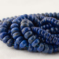 High Quality Grade A Natural Lapis Lazuli (blue) Semi-Precious Gemstone Rondelle / Spacer Beads - 6mm, 8mm sizes