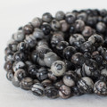 High Quality Grade A Natural Silk Stone (grey) Semi-precious Gemstone Round Beads - 4mm, 6mm, 8mm, 10mm sizes