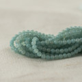 "High Quality Grade A Natural Amazonite Semi-Precious Gemstone Round Beads - 2mm - 15.5"" long"