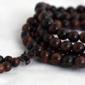 Natural Red Sandalwood Round Wood Beads - 108 beads - Mala Prayer Beads - 6mm, 8mm