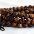 Natural Tiger Skin Sandalwood Round Wood Beads - 108 beads - Mala Prayer Beads - 6mm, 8mm