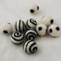 100% Wool Felt Balls - 10 Count - Ivory White Felt Balls with Black Polka Dots / Swirl - approx 2.5cm