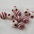 100% Wool Felt Balls - 10 Count - Ivory White Felt Balls with Azalea Pink Polka Dots / Swirl - approx 2.5cm