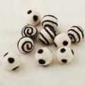 100% Wool Felt Balls - 10 Count - Ivory White Felt Balls with Aubergine Purple Polka Dots / Swirl - approx 2.5cm