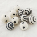 100% Wool Felt Balls - 10 Count - Ivory White Felt Balls with Ash Grey Polka Dots / Swirl - approx 2.5cm