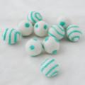100% Wool Felt Balls - 10 Count - Ivory White Felt Balls with Aquamarine Green Polka Dots / Swirl - approx 2.5cm