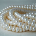 "15"" Strand Natural Freshwater Pearl Beads Rondelle White 6 - 7mm Grade AA"