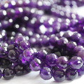 "High Quality Grade A Natural Amethyst Faceted Semi-Precious Gemstone Round Beads 6, 8, 10mm sizes - 15"" long"