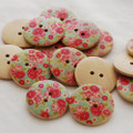 10 Floral Wood Buttons - Rose Flower - 3cm