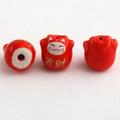 Maneki Neko Lucky Cat Porcelain Bead - Feng Shui - Bring Wealth - Red